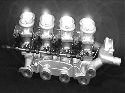 Maserati Bora manifold with four DCNF throttles